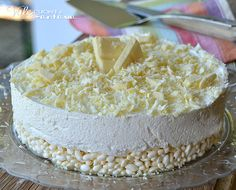 Torta fredda biancorì ricetta senza cottura.crema queso, chocolate blanco gelatina.base de arroz inflado y chocolate blanco