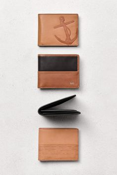 Embossed anchors, colorblock and stripes. These are just a few of our favorite men's leather bifold wallets.