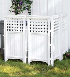 Adjustable Outdoor White Resin Four-Panel Screen.  For around my central air unit~!