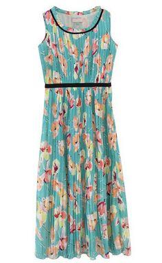 Green Sleeveless Floral Pleated Tank Chiffon Dress