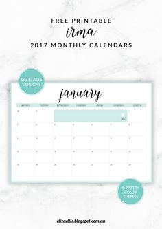 FREE PRINTABLE IRMA 2017 MONTHLY CALENDARS