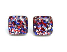 Red white and blue glitter studs red white blue Sparkle studs square glitter studs patriotic earrings wood earrings eco friendly by starlightwoods