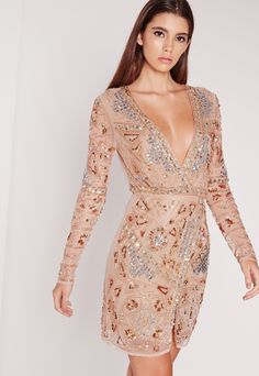 Missguided Premium Long Sleeve Embellished Wrap Mini Dress Gold