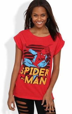 Deb Shops Short Sleeve Top with #Spider-Man Screen and Slash Back $12.67
