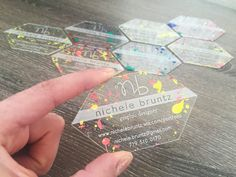 Acrylic Business cards with splatter paint! Clear Business Cards, Beauty Business Cards, Transparent Business Cards, Plastic Business Cards, Salon Business Cards, Unique Business Cards, Business Card Design, Creative Business, Corporate Design