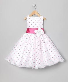 BLook at this Pink Polka Dot Organza Dress - Infant, Toddler & Girls by Kid Fashion Little Girl Outfits, Cute Outfits For Kids, Little Girl Fashion, Little Girl Dresses, Kids Frocks, Frocks For Girls, Baby Girl Dresses, Baby Dress, 50s Dresses