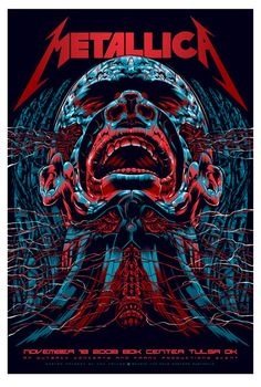 Metallica - Classic Rock psychedelic music poster Hippie Style ☮