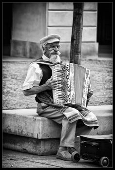 Steet musician with accordion