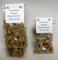 Maple Encrusted Almonds in 2oz or 4oz bags.