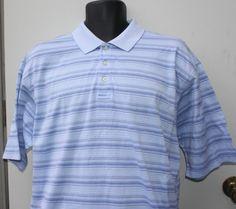 Alan Flusser Mens Performance Golf Shirt Blue Striped Size Large #AlanFlusser #PoloRugby