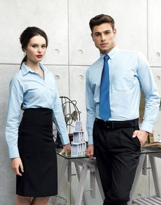Our models are ready for their breakfast meeting in style in our Signature and Oxford Long Sleeve Shirts. Office Uniform, Man Office, Office Wear, Receptionist Outfit, Premier Clothing, Restaurant Uniforms, Corporate Uniforms, Work Uniforms, Emily Blunt