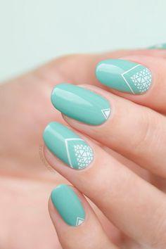 green and white nail art