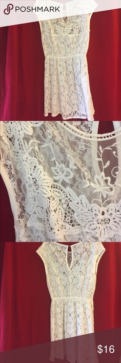 White Lace Swimswuit Coverup Cinched waist. Size medium. American rag. Never been worn! American Rag Swim Coverups