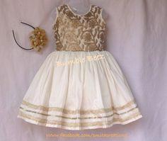 Elegant gold n cream frock at Bumblebeez designer dresses