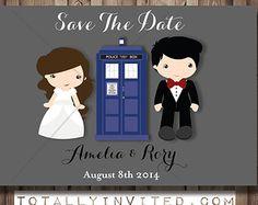 Doctor Who TARDIS bride groom Save The Date PRINTABLE, DIY, (customized) unique, geek, poem, invitation