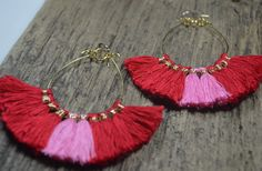 Ruby Red and Pink Fringe Boho Hoop Earrings by Girlinthefogdesigns on Etsy