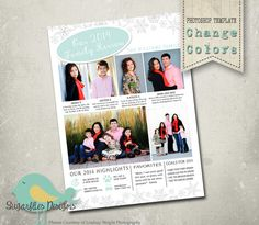 Christmas Card Template PHOTOSHOP TEMPLATE  by SugarfliesDesigns