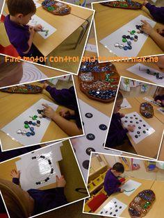 Pattern making with glass gems (inspired by Rachel) Alphabet Writing, Pre Writing, Writing Skills, Maths Eyfs, Preschool Math, Numeracy, Kindergarten, Fine Motor Skills Development, Gross Motor Skills