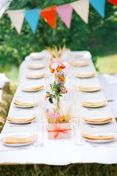 #tablescape a fun backyard set-up with hay bale  seating |  Photography by maxkoliberdin.com |   Read more - http://www.stylemepretty.com/2013/08/06/russia-wedding-from-max-koliberdin/