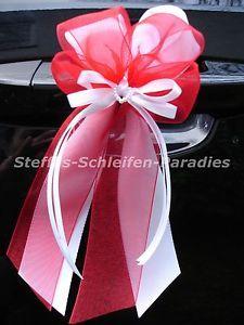 10-Antennenschleifen-Autoschleifen-Hochzeit-Schleifen-weiss-rot-Perlenherz