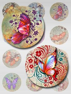 Butterflies Floral Deco Grunge Paper Digital by pixeltwister Grunge, Owl Moon, Arte Country, Cd Art, Pastel Watercolor, Rock Painting Designs, Deco Floral, Bottle Cap Images, Orange Moon