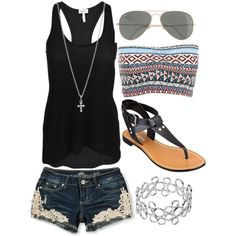 black racerback tank, colorful bandeau, dark blue jean shorts with lace, black goddess sandals, silver cross, and shades.