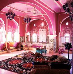 Beautiful pink living room!