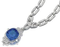 Marie Poutine's Jewels & Royals: A diamond and sapphire sautoir necklace, 1930's.