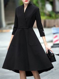 Cotton A-line 3/4 Sleeve Asymmetric Simple Midi Dress
