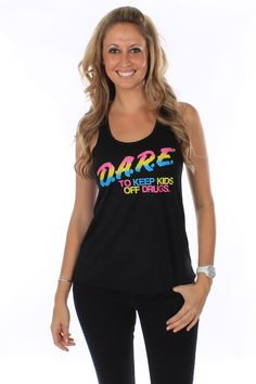 DARE Black and Neon Womens Shirt Large * Details can be found by clicking on the image. 80s Retro Clothing, Retro Outfits, Casual Outfits, 80s Fashion, Fashion Outfits, Fashion Displays, 80s Outfit, Racerback Tank Top, All About Fashion