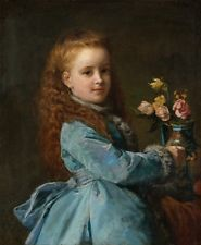 HD Print Oil painting Picture Portraits Girl & flowers Art on canvas L087