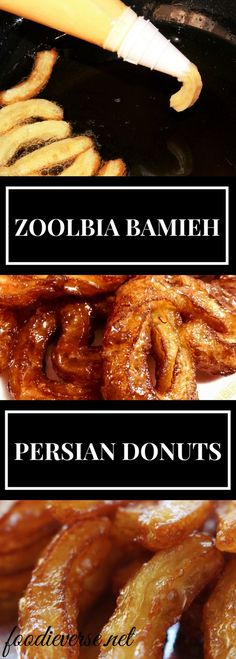 Zoolbia (Zolobiyah) Bamieh is a Persian Dumpling in Saffron Syrup, that some might know as Jalebi or Tulumba or Balah el Sham. This will remind you of churros dunked in syrup!