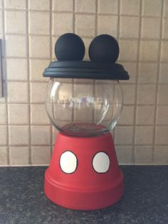 Mickey Mouse Cookies Candy Snacks Treats Glass Jar Hand Painted Kitchen Counter…