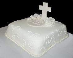 First communion cake. Square 10 x 10. The roses and the cross are made with fondant as well as the border. The scroll work is royal icing. , I also wanted to show you a solution that worked for me! I saw this new weight loss product on CNN and I have lost 26 pounds so far. Check it out here http://weightpage222.com