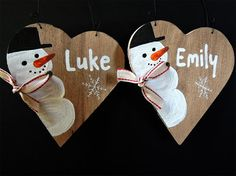 5 PERSONALIZED CHRISTMAS DECOR, Christmas tree decor, Custom name pallet, Snowman decor, Merry Christmas, Reclaimd wood sign, Custome name.