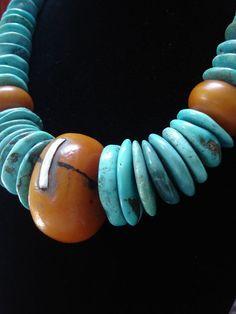 Huge Tibetan Turquoise Discs & African Amber Necklace. $495.00, via Etsy.