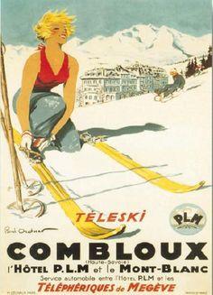 Combloux, France. Vintage poster.