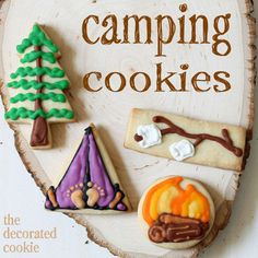 Camping Cookies- too cute! Great little treat to send with my little camper on her next camping trip
