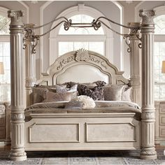 Monte Carlo II Silver Pearl Poster Canopy Bedroom Set-Poster Bed ❤ this is the bed I have wanted for years!!!! One day I'm gonna be sleeping in it!!!♥♥♥