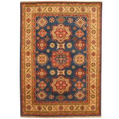 Herat Oriental Indo Hand-knotted Tribal Kazak Blue/ Ivory Wool Rug (6' x 9')