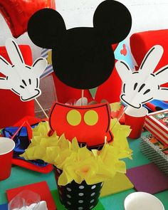 What a fun centerpiece at a Mickey Mouse birthday party! See more party ideas at CatchMyParty.com!
