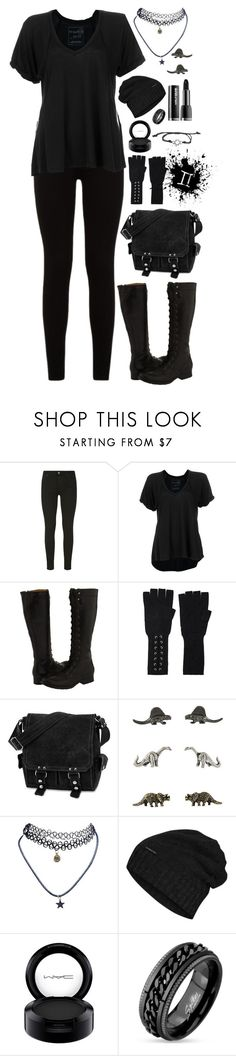 """Zodiac: Gemini"" by psycho-doodle-bug ❤ liked on Polyvore featuring 7 For All Mankind, Free People, Frye, Autumn Cashmere, David King & Co., Hot Topic, Wet Seal, The North Face and MAC Cosmetics"