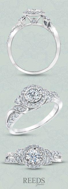 Split-Shank Round Halo Diamond Engagement Ring 3/4ctw