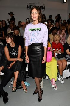 Model Alexa Chung attends the Ashley Williams show during London Fashion Week Spring/Summer collections 2017 on September 16, 2016 in London, United Kingdom.