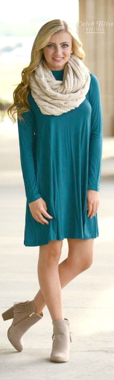 The cutest t-shirt dress there is! Features band collar and long sleeves. Perfect for fall! Fall dress. Women fashion