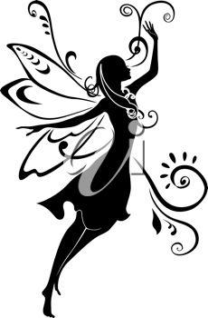 Vector Illustration Silhouette of funky fairy on flower pattern design