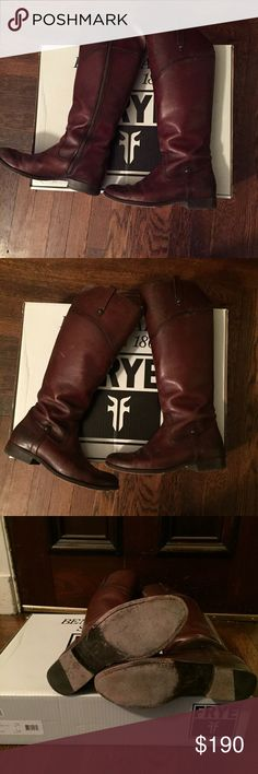 """Frye Melissa Tab knee high boots 8 Purchased from Nordstrom in 2015. Gently worn, leather is broken in. Color is a reddish-brown. Will ship in original packaging.  1"""" heel (size 8.5). 16 1/4"""" boot shaft; 14 3/4"""" calf circumference. Side zip closure. Natural hide variations and markings contribute to the custom look of each boot. No two are alike. In hot or humid weather, natural leather may release a protective, waxy coating; simply wipe it off with a damp cloth. Leather upper, lining and…"""