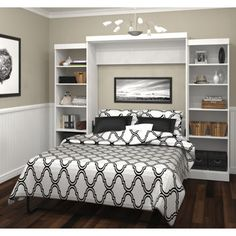 """Boutique Queen Wall Bed with Two 25"""" Open Storage Units in White"""