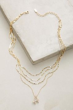 Anthropologie Initial Script Necklace