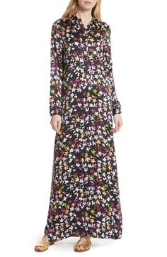 11d3c9e9953 online shopping for Equipment Simone Floral Silk Button Sleeve Maxi Dress  from top store. See new offer for Equipment Simone Floral Silk Button  Sleeve Maxi ...